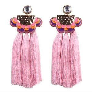 Pink Purple Enamel Long Drop Boho Tassel Earrings